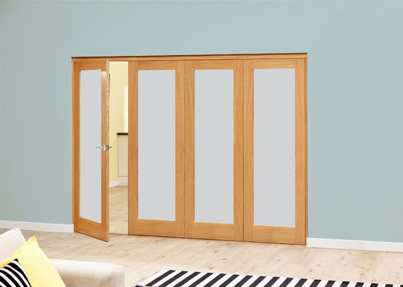 Nuvu unfinished oak frosted glass internal folding sliding for Internal folding sliding doors