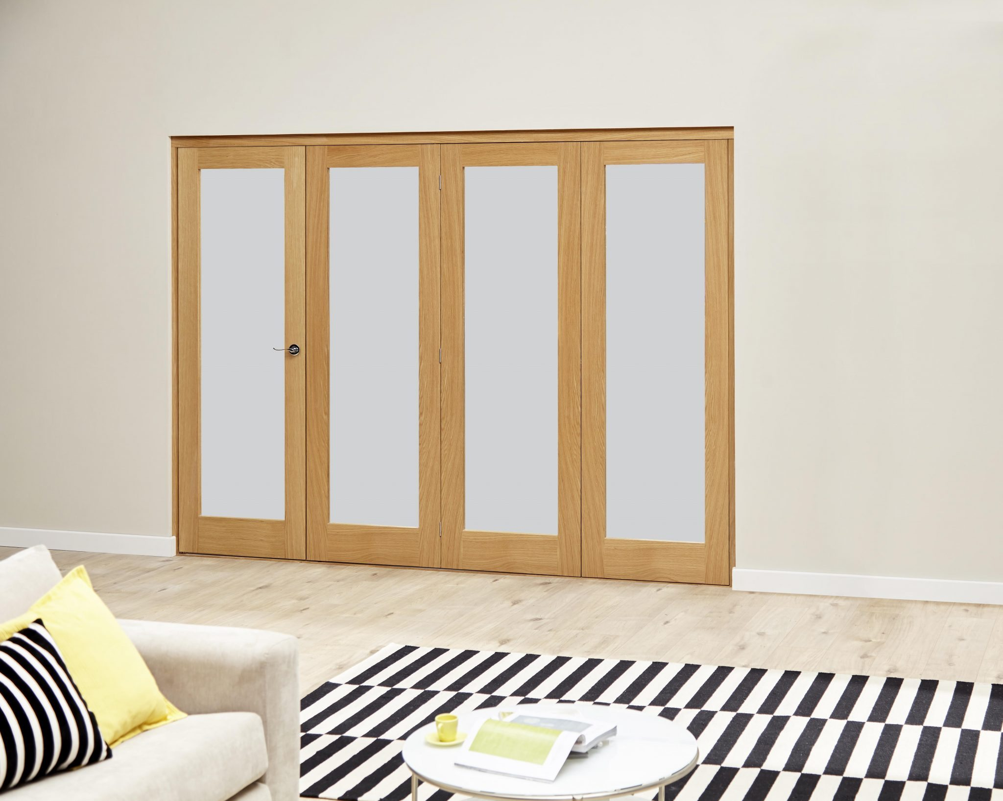 Premier frosted glazed unfinished oak internal folding for Internal folding sliding doors
