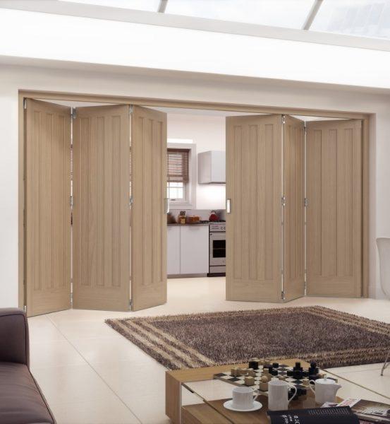Aston unfinished white oak internal folding sliding door for Internal sliding doors