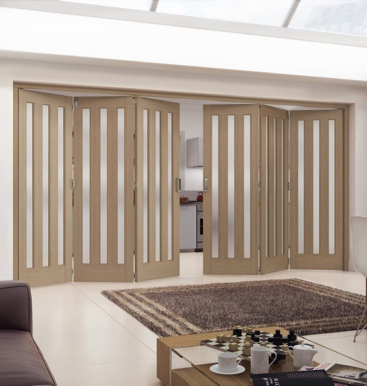 Aston unfinished oak folding sliding door with frosted for Internal folding sliding doors