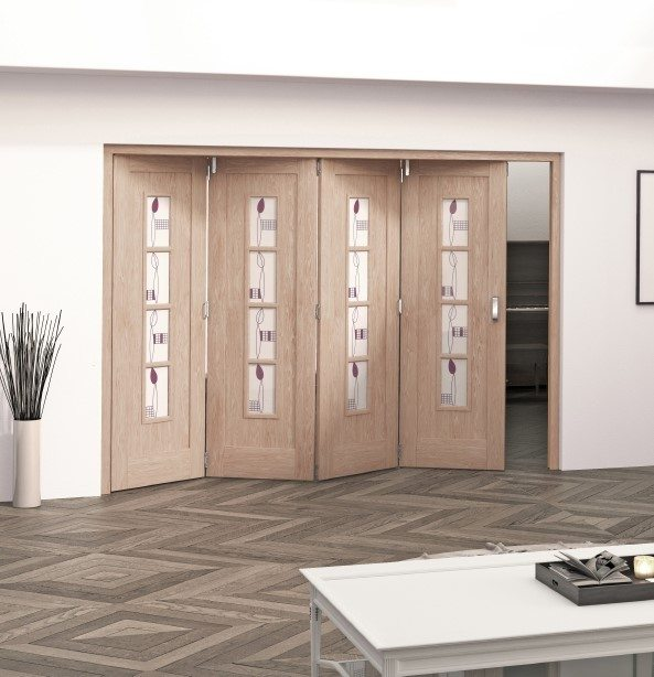 Mackintosh oak 4 light internal folding sliding doors for Internal folding sliding doors