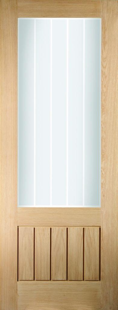 Oregon Cottage Etched Glazed White Oak Veneer Interior Doors