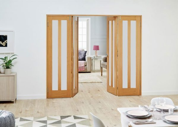 Aston unfinished oak internal frenchfold doors with frosted glass - Internal room dividing doors ...