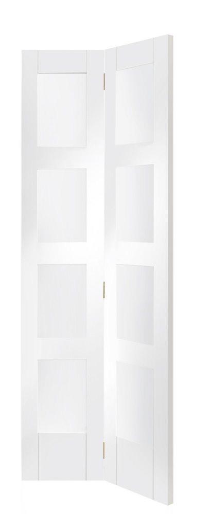 Shaker Bi-Fold White Primed Door with Clear Glass  sc 1 st  Doors Online UK & Shaker-Style White Primed Glazed Internal Bifold Door - Doors u0026 More