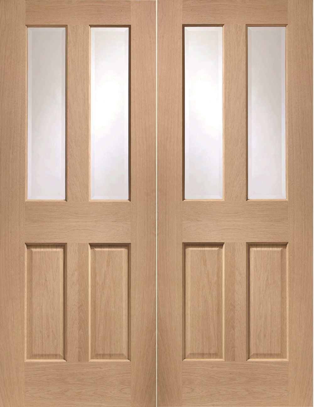Malton Oak Rebated Door Pair with Clear Bevelled Glass & Malton Unfinished Oak Rebated Internal French Doors with Bevelled Glass