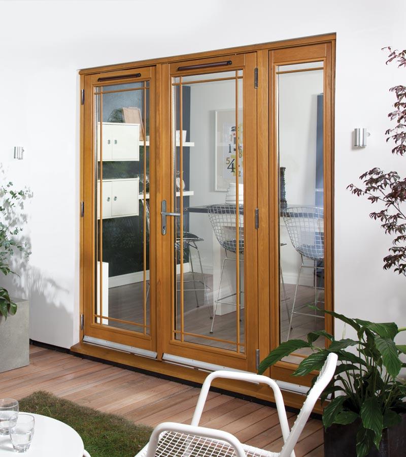 & Oak Canberra French Fully Finished Marginal Fret Oak Patio Doors