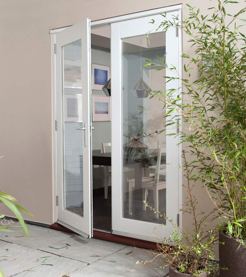 Wellington white french doorset open in softwood patio doors for White french doors