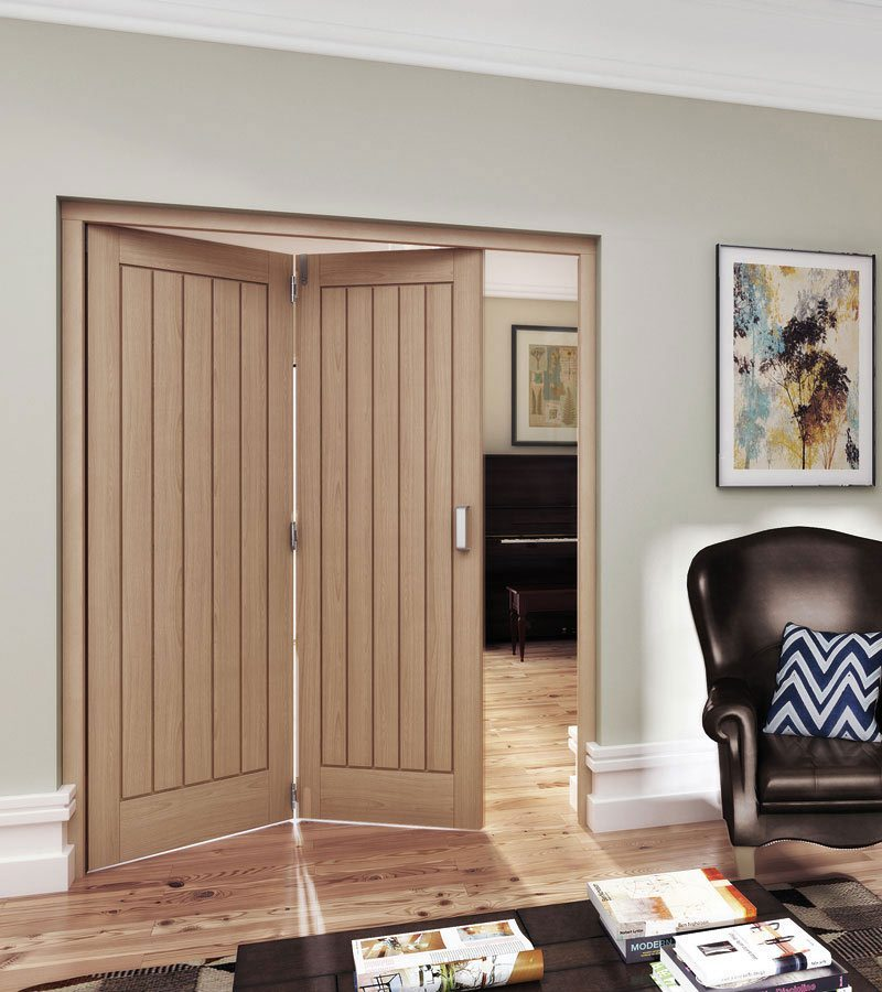 Oregon Cottage Style Unfinished White Oak Internal Folding Sliding Doors
