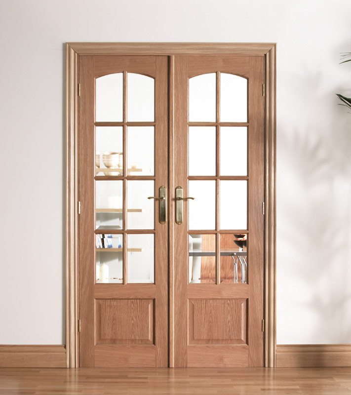 worthing oak internal french doors with bevelled glass
