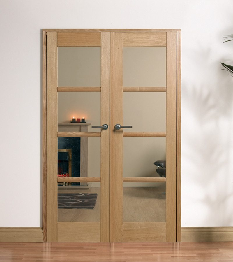 Oslo fully finished oak internal french doors with clear glass for Oak french doors