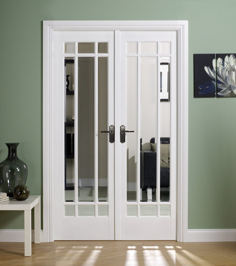 Manhattan white primed internal french doors with clear for French doors for sale uk