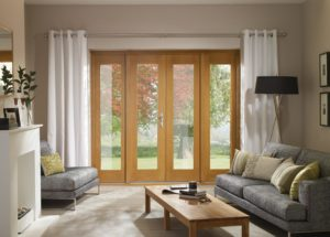 Pre-Finished Oak 4' La Porte French Door Set (Chrome)