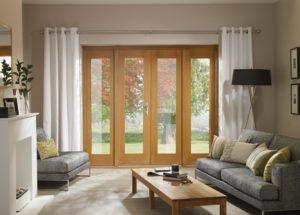 Pre-Finished Oak 4' La Porte French Door Set (Chrome)