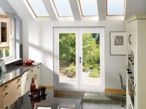 Pre-Finished White 4' La Porte French Door Set (Chrome)