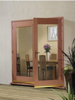 Hardwood 4' La Porte French Door Set (Chrome)