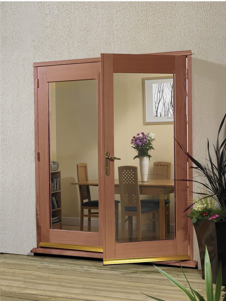 Hardwood 4' La Porte French Door Set (Chrome)
