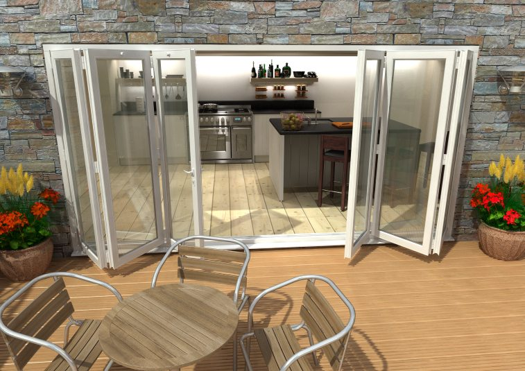 Doors & More Aluminium White Bi-fold Doors Part Q Compliant
