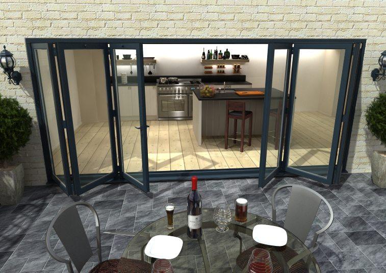 Doors & More Aluminium Grey Bi-fold Doors Part Q Compliant