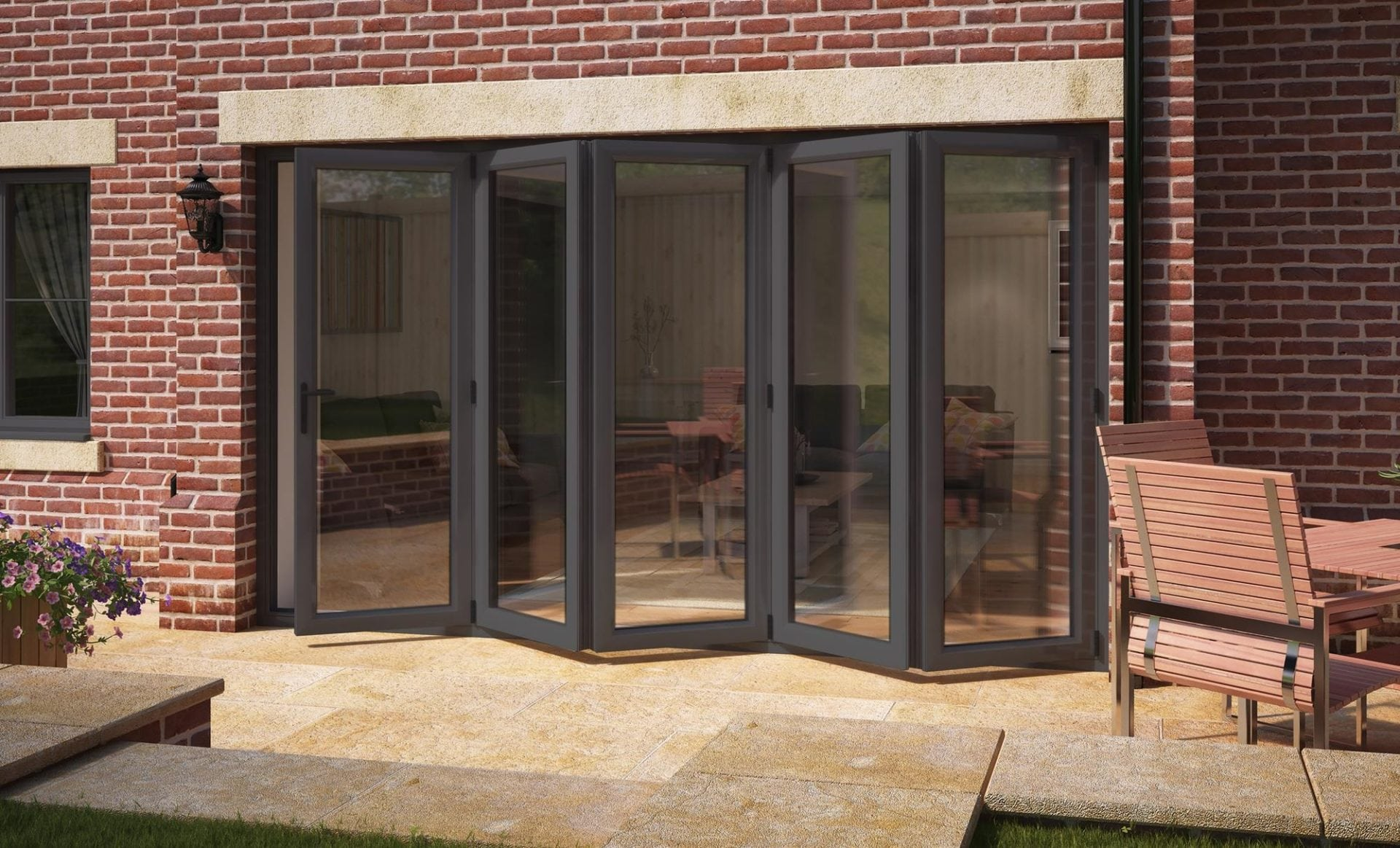 Aspect UPVC Bi-fold Doors - Grey & White High Security