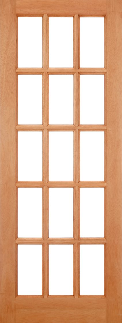 SA Hardwood External Door 15 Light Clear Glazed