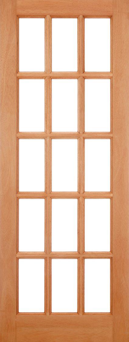 SA Hardwood External Door 15 Light Clear Glazed