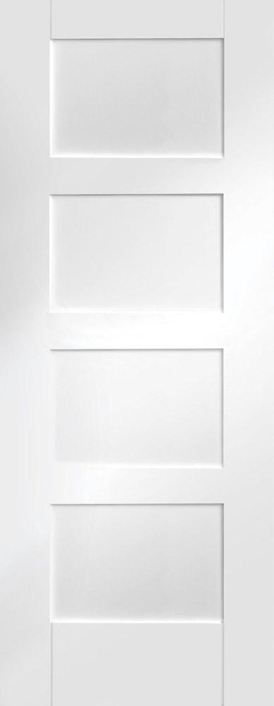 White Primed Shaker 4 Panel Fire Door