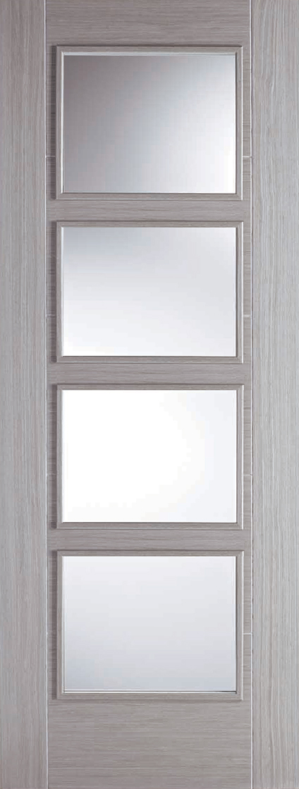 Light Grey Vancouver 4L Clear Glazed Fire Door