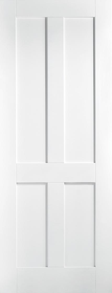 White Primed London 4 Panel Fire Door